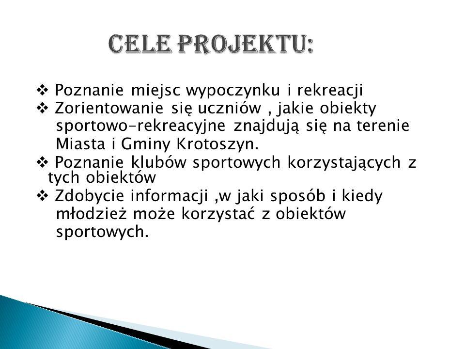 Projekt polegał na zebraniu informacji na temat obiektów sportowych znajdujących się w naszej gminie, przeprowadzeniu wywiadów z trenerami prezesami lub osobami związanymi z klubami sportowymi korzystającymi z tych obiektów.