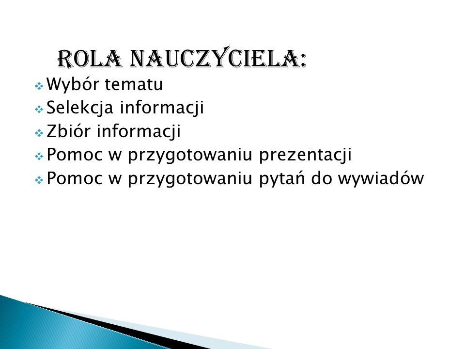 Wybór tematu Selekcja informacji Zbiór informacji Pomoc w przygotowaniu prezentacji Pomoc w przygotowaniu pytań do wywiadów ROLA NAUCZYCIELA: