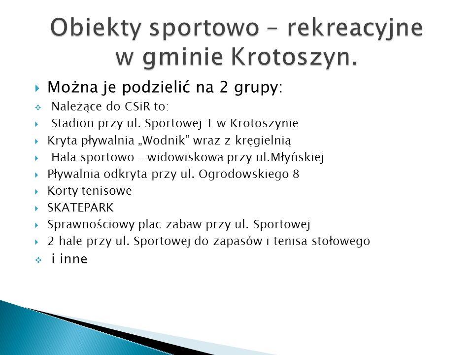 Można je podzielić na 2 grupy: Należące do CSiR to: Stadion przy ul. Sportowej 1 w Krotoszynie Kryta pływalnia Wodnik wraz z kręgielnią Hala sportowo