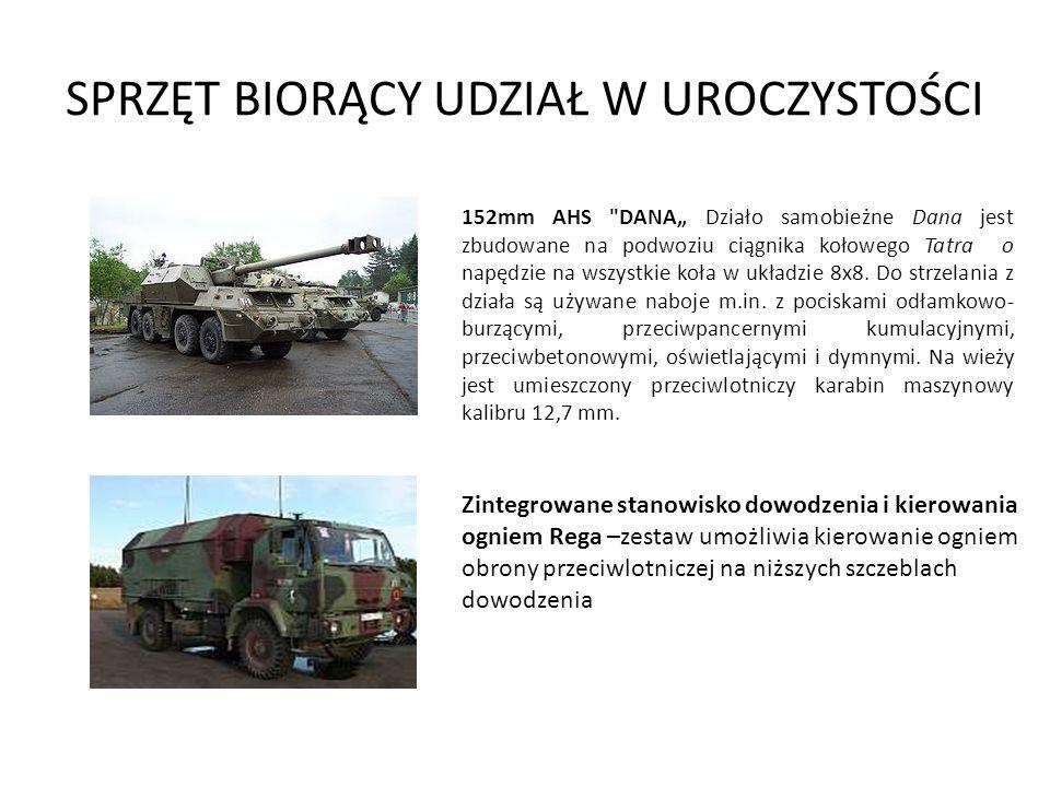 SPRZĘT BIORĄCY UDZIAŁ W UROCZYSTOŚCI Samobieżny zestaw przeciwlotniczy – star 266 z otwartą skrzynią ładunkową, na której osadzono działko ZU-23-2.