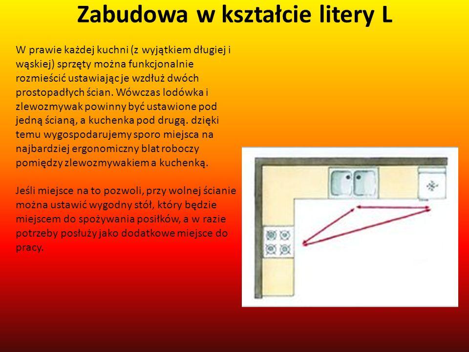 Zabudowa w kształcie litery L W prawie każdej kuchni (z wyjątkiem długiej i wąskiej) sprzęty można funkcjonalnie rozmieścić ustawiając je wzdłuż dwóch