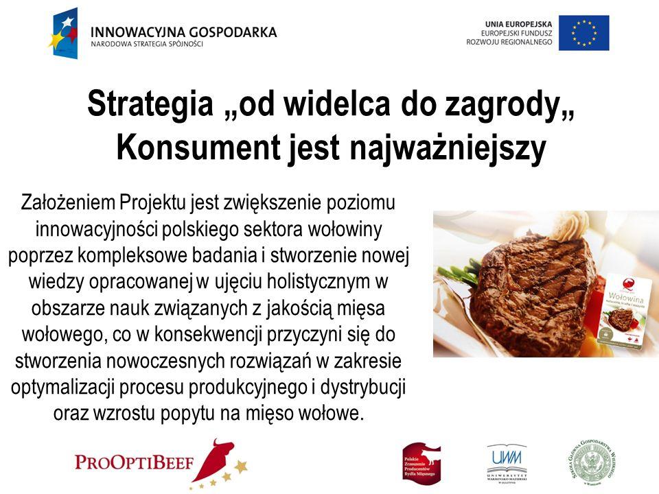 Strategia od widelca do zagrody Konsument jest najważniejszy Założeniem Projektu jest zwiększenie poziomu innowacyjności polskiego sektora wołowiny po