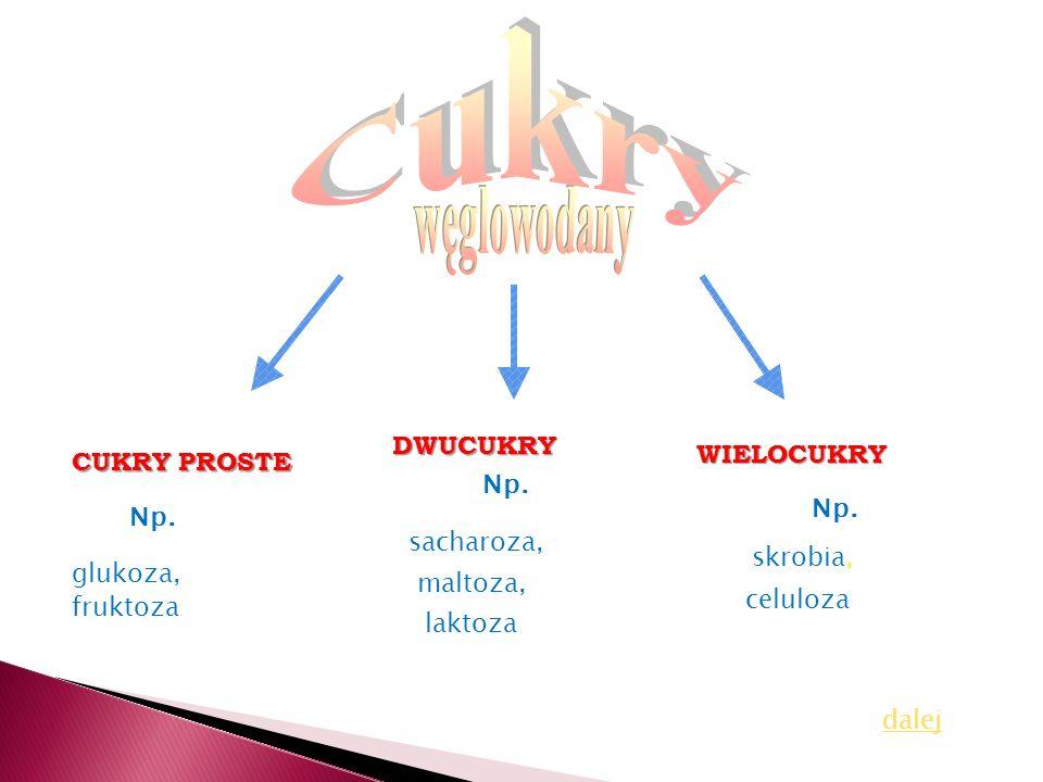 CUKRY PROSTE DWUCUKRY WIELOCUKRY Np. glukoza, fruktoza sacharoza, maltoza, laktoza skrobia, celuloza dalej