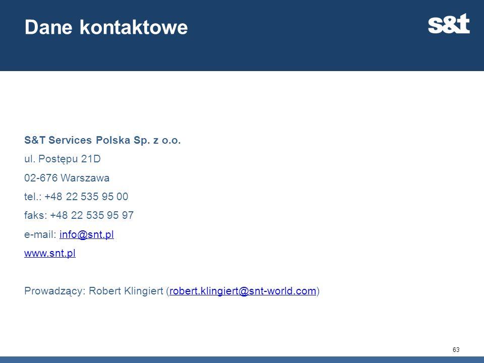63 Dane kontaktowe S&T Services Polska Sp. z o.o. ul. Postępu 21D 02-676 Warszawa tel.: +48 22 535 95 00 faks: +48 22 535 95 97 e-mail: info@snt.plinf