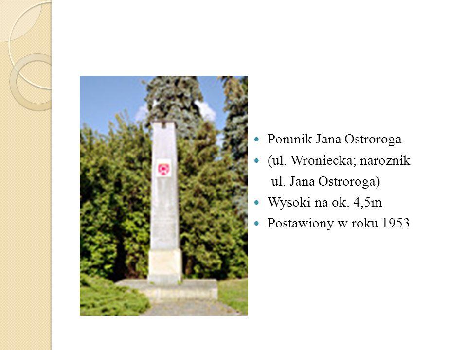 Pomnik Jana Ostroroga (ul. Wroniecka; narożnik ul. Jana Ostroroga) Wysoki na ok. 4,5m Postawiony w roku 1953