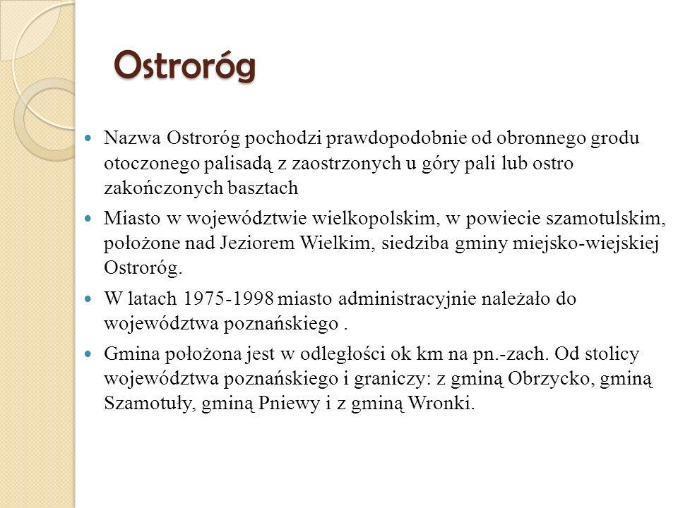 Ostroróg Nazwa Ostroróg pochodzi prawdopodobnie od obronnego grodu otoczonego palisadą z zaostrzonych u góry pali lub ostro zakończonych basztach Mias
