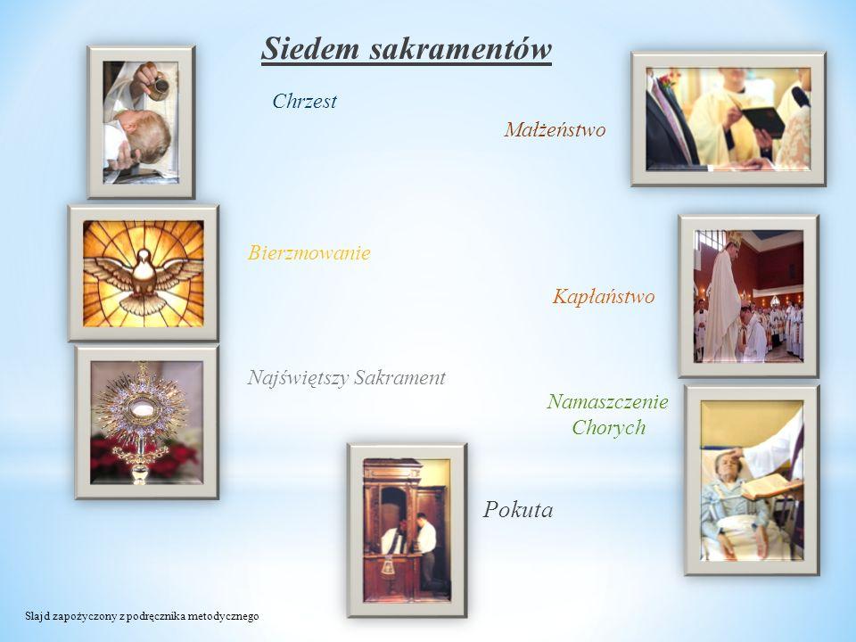 Siedem sakramentów Chrzest Bierzmowanie Najświętszy Sakrament Namaszczenie Chorych Kapłaństwo Małżeństwo Pokuta Slajd zapożyczony z podręcznika metody
