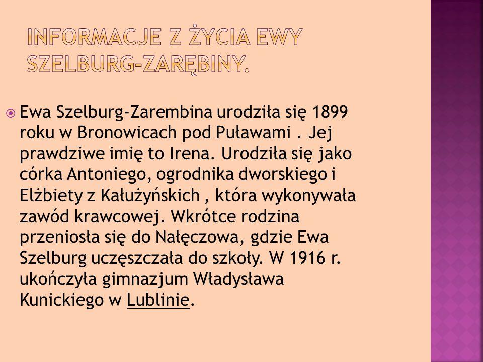 Ewa Szelburg-Zarembina urodziła się 1899 roku w Bronowicach pod Puławami.