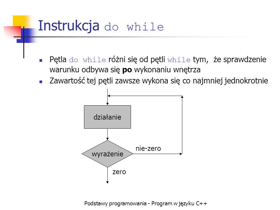 Podstawy programowania - Program w języku C++ Instrukcja do while Pętla do while różni się od pętli while tym, że sprawdzenie warunku odbywa się po wy