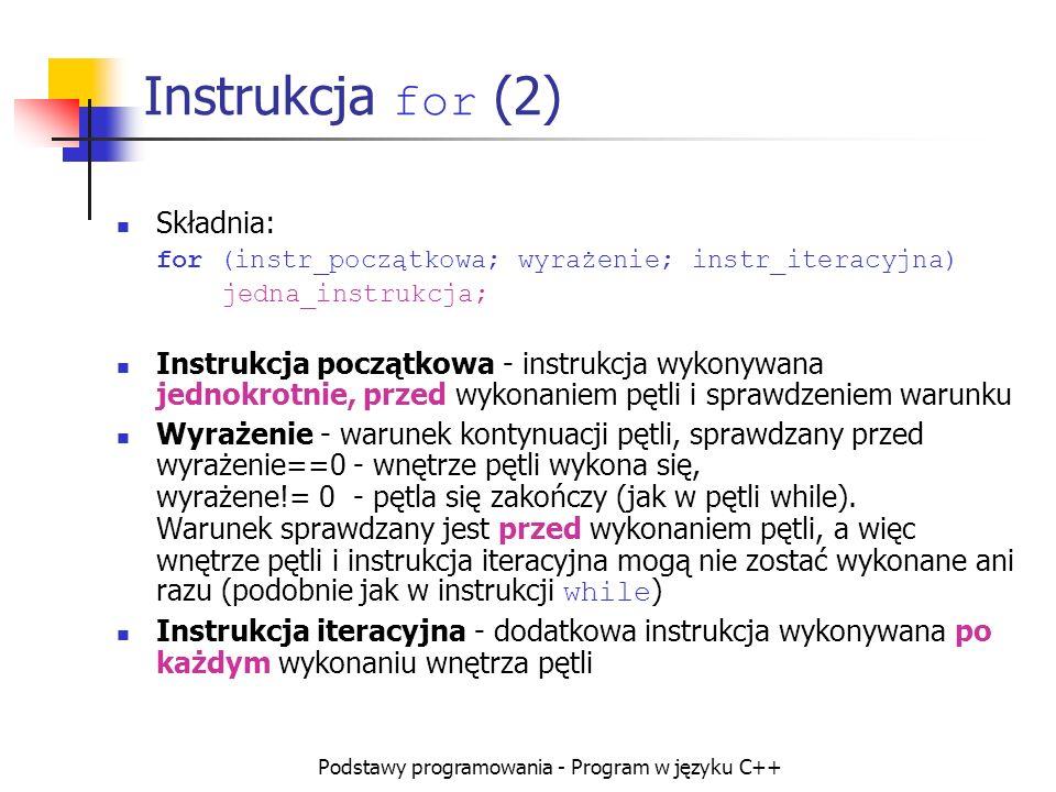 Podstawy programowania - Program w języku C++ Instrukcja for (2) Składnia: for (instr_początkowa; wyrażenie; instr_iteracyjna) jedna_instrukcja; Instr