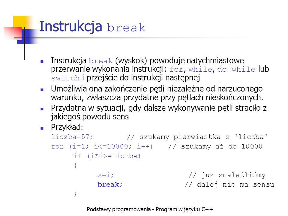 Podstawy programowania - Program w języku C++ Instrukcja break Instrukcja break (wyskok) powoduje natychmiastowe przerwanie wykonania instrukcji: for,