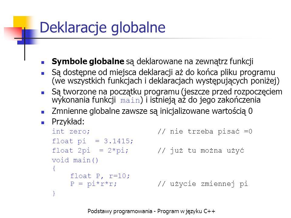 Podstawy programowania - Program w języku C++ Deklaracje globalne Symbole globalne są deklarowane na zewnątrz funkcji Są dostępne od miejsca deklaracj