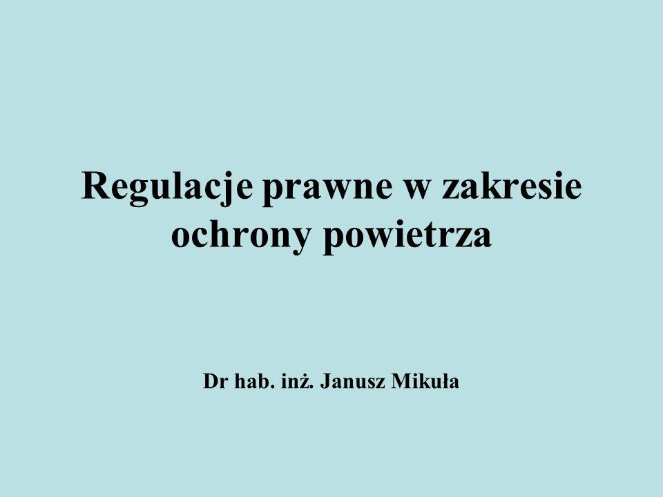 Regulacja ochrony powietrza przez zanieczyszczeniami w Polsce zawarta jest przede wszystkim w ustawie z 27.04.2001r.