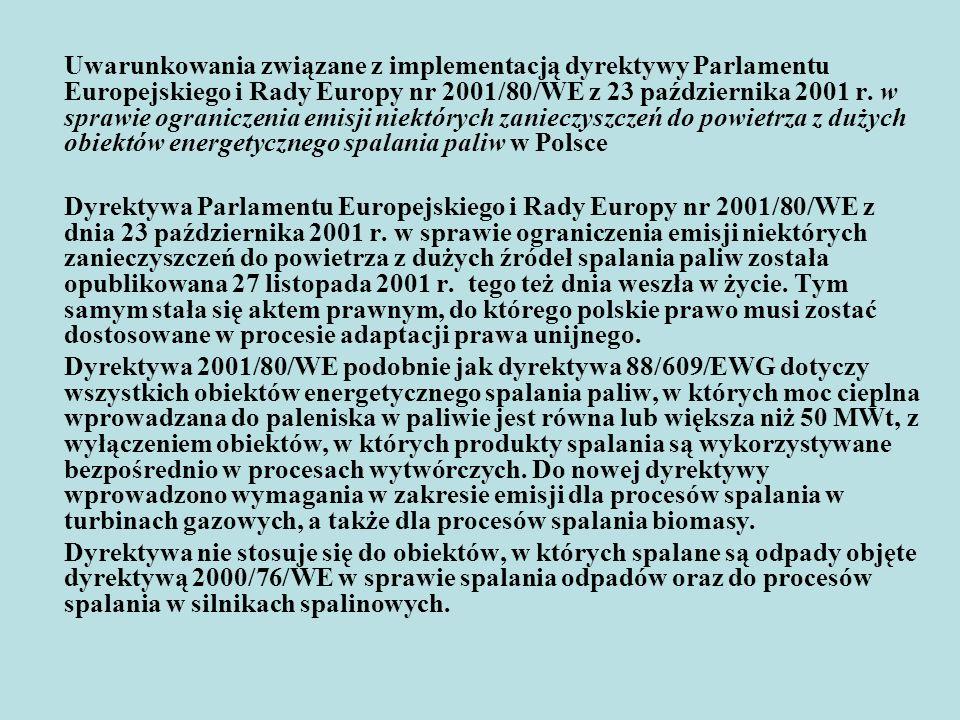 Porównanie postanowień dyrektywy 2001/80/WE z obowiązującym polskim prawem Pewne elementy dyrektywy 2001/80/WE, skonstruowanej na fundamencie dyrektywy 88/609/EWG, znajdują już swoje odzwierciedlenie w następujących aktach prawa krajowego: ustawie - Prawo ochrony środowiska, zwaną dale POŚ, w/w rozporządzeniu w sprawie wprowadzania do powietrza substancji zanieczyszczających z procesów technologicznych i operacji technicznych.
