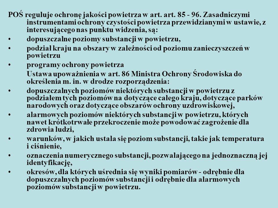 Wykonując tą delegację Minister Środowiska wydał rozporządzenie z 22.