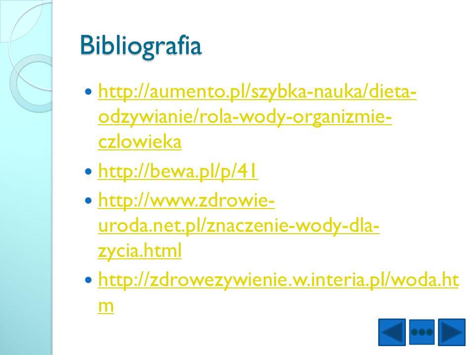 Bibliografia http://aumento.pl/szybka-nauka/dieta- odzywianie/rola-wody-organizmie- czlowieka http://aumento.pl/szybka-nauka/dieta- odzywianie/rola-wo