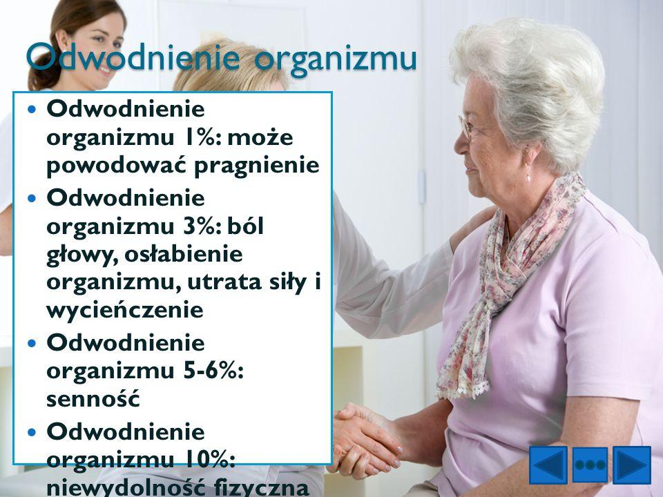 Odwodnienie organizmu Odwodnienie organizmu 1%: może powodować pragnienie Odwodnienie organizmu 3%: ból głowy, osłabienie organizmu, utrata siły i wyc