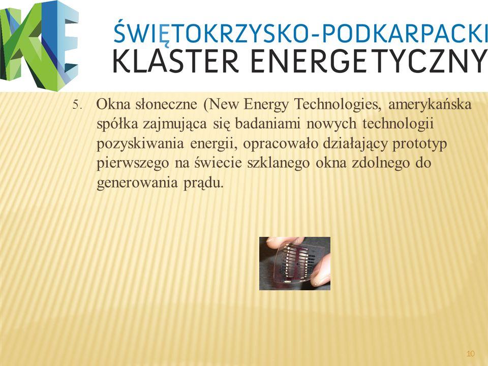 5. Okna słoneczne (New Energy Technologies, amerykańska spółka zajmująca się badaniami nowych technologii pozyskiwania energii, opracowało działający