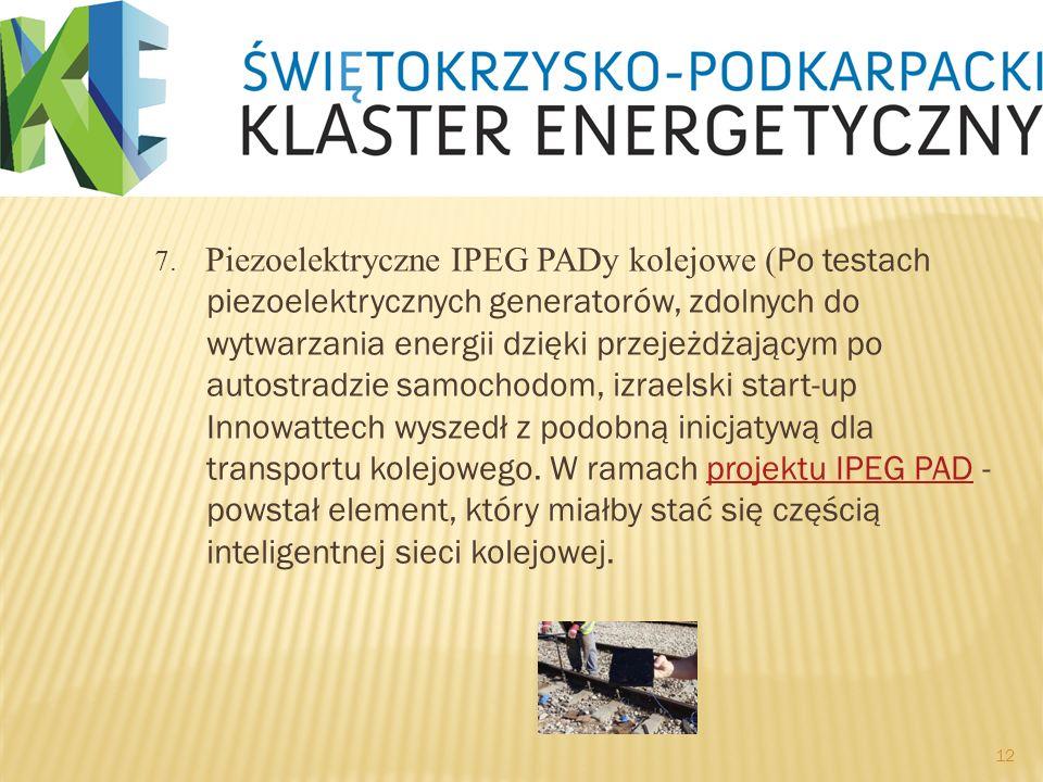 7. Piezoelektryczne IPEG PADy kolejowe ( Po testach piezoelektrycznych generatorów, zdolnych do wytwarzania energii dzięki przejeżdżającym po autostra