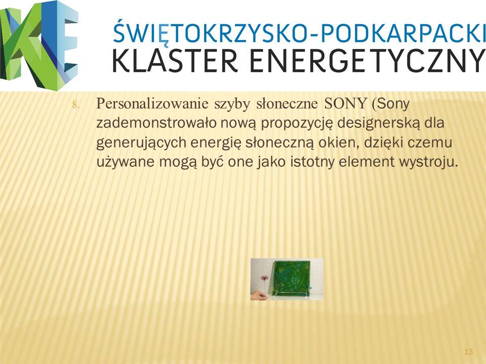 8. Personalizowanie szyby słoneczne SONY ( Sony zademonstrowało nową propozycję designerską dla generujących energię słoneczną okien, dzięki czemu uży