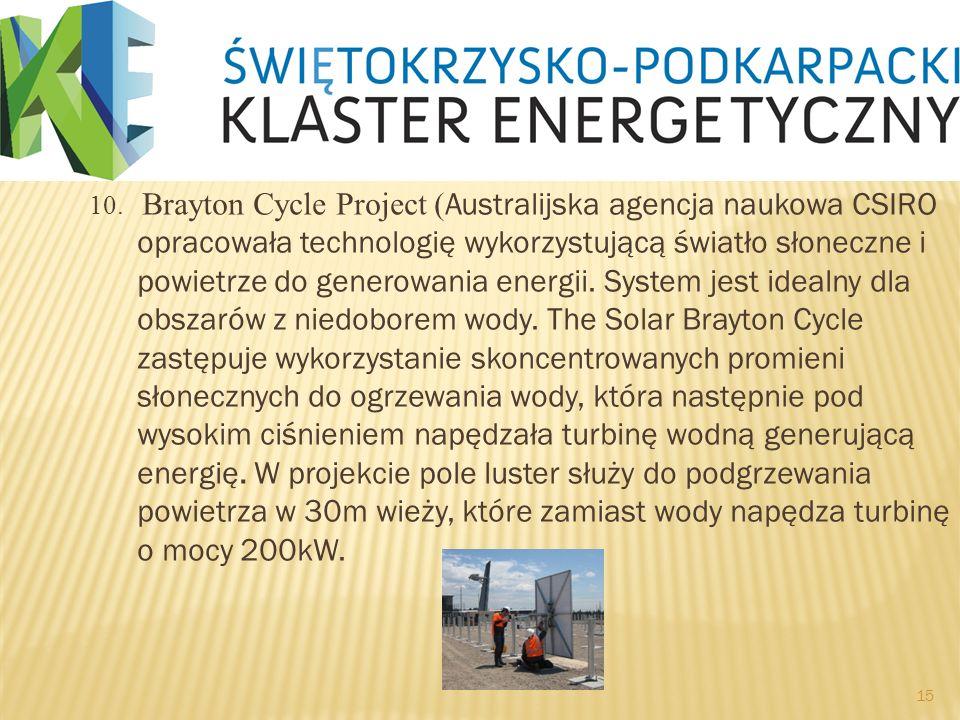 10. Brayton Cycle Project ( Australijska agencja naukowa CSIRO opracowała technologię wykorzystującą światło słoneczne i powietrze do generowania ener