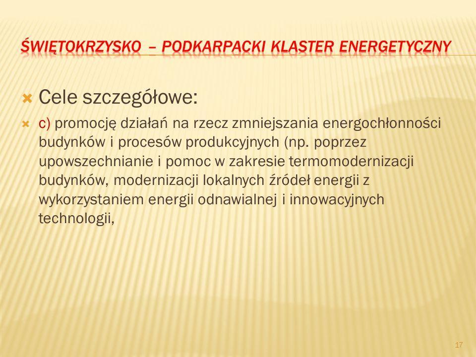 Cele szczegółowe: c) promocję działań na rzecz zmniejszania energochłonności budynków i procesów produkcyjnych (np. poprzez upowszechnianie i pomoc w