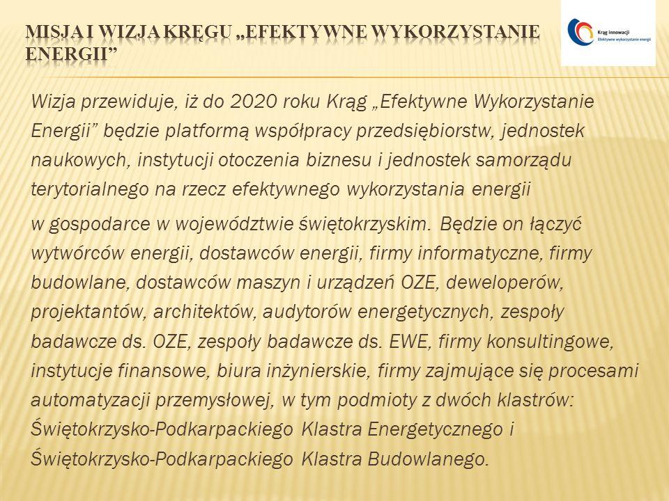 Wizja przewiduje, iż do 2020 roku Krąg Efektywne Wykorzystanie Energii będzie platformą współpracy przedsiębiorstw, jednostek naukowych, instytucji ot