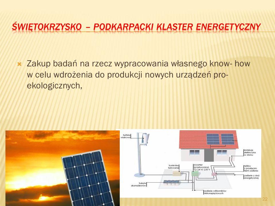 Zakup badań na rzecz wypracowania własnego know- how w celu wdrożenia do produkcji nowych urządzeń pro- ekologicznych, 22