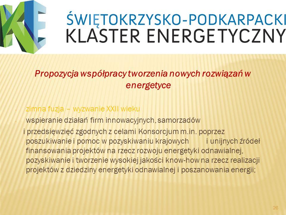 Propozycja współpracy tworzenia nowych rozwiązań w energetyce - zimna fuzja – wyzwanie XXII wieku - wspieranie działań firm innowacyjnych, samorzadów