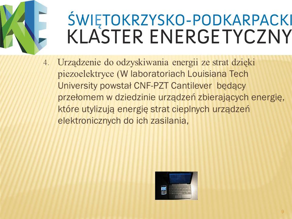 4. Urządzenie do odzyskiwania energii ze strat dzięki piezoelektryce ( W laboratoriach Louisiana Tech University powstał CNF-PZT Cantilever będący prz