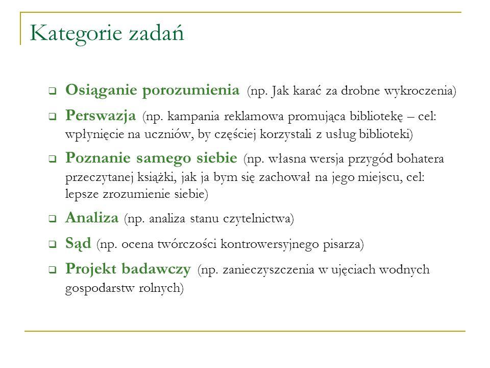 Kategorie zadań Osiąganie porozumienia (np. Jak karać za drobne wykroczenia) Perswazja (np. kampania reklamowa promująca bibliotekę – cel: wpłynięcie