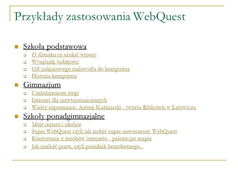 Przykłady zastosowania WebQuest Szkoła podstawowa Szkoła podstawowa O ślimaku co szukał wiosny Wynalazki ludzkości Od jaskiniowego malowidła do komput