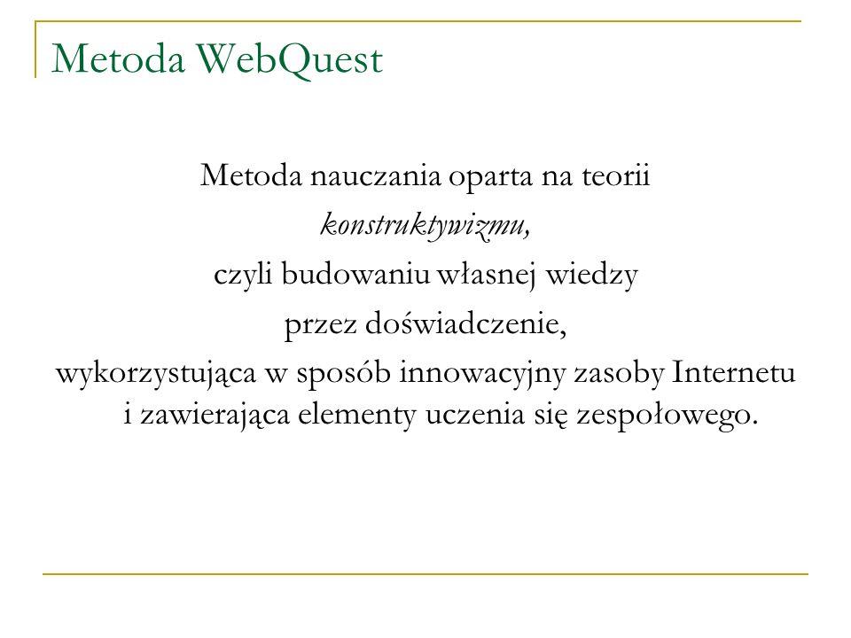 Metoda WebQuest Metoda nauczania oparta na teorii konstruktywizmu, czyli budowaniu własnej wiedzy przez doświadczenie, wykorzystująca w sposób innowac