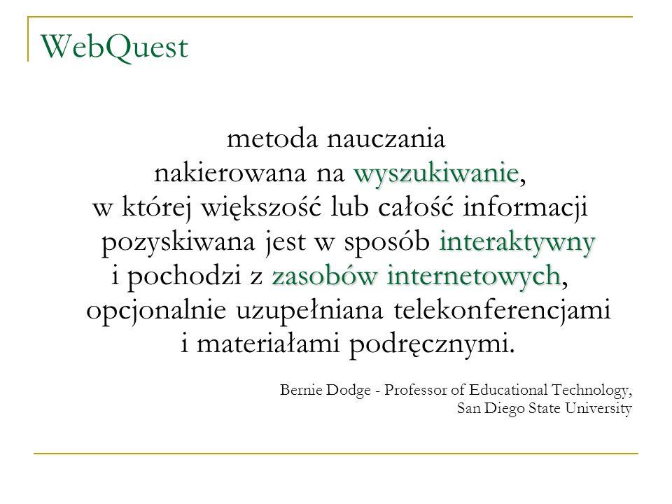 WebQuest metoda nauczania wyszukiwanie nakierowana na wyszukiwanie, interaktywny w której większość lub całość informacji pozyskiwana jest w sposób in