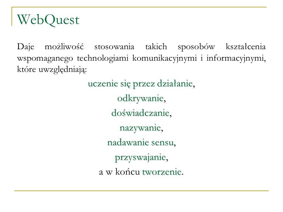 WebQuest Daje możliwość stosowania takich sposobów kształcenia wspomaganego technologiami komunikacyjnymi i informacyjnymi, które uwzględniają: uczeni