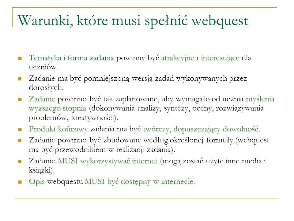 Warunki, które musi spełnić webquest Tematyka i forma zadaniaatrakcyjneinteresujące Tematyka i forma zadania powinny być atrakcyjne i interesujące dla