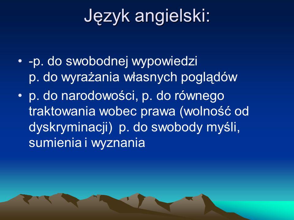 Język angielski: -p.do swobodnej wypowiedzi p. do wyrażania własnych poglądów p.