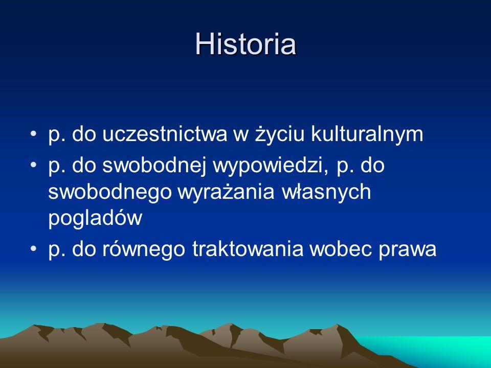 Historia p.do uczestnictwa w życiu kulturalnym p.