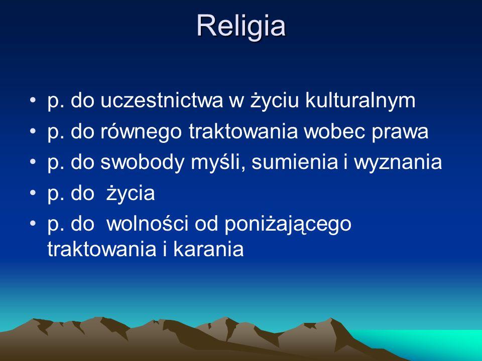 Religia p. do uczestnictwa w życiu kulturalnym p. do równego traktowania wobec prawa p. do swobody myśli, sumienia i wyznania p. do życia p. do wolnoś