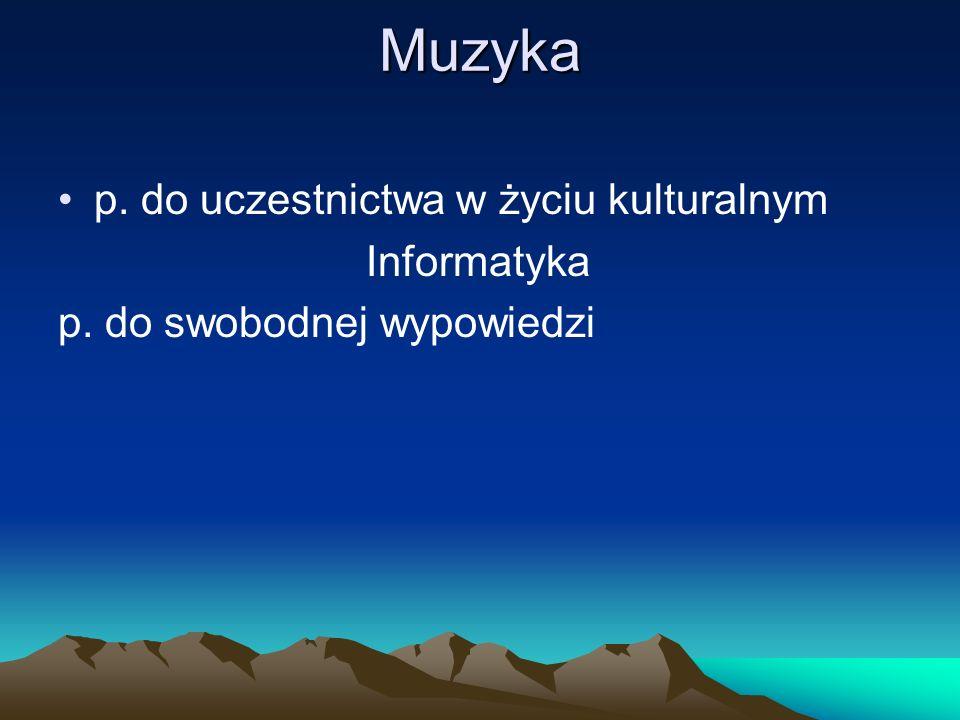 Muzyka p. do uczestnictwa w życiu kulturalnym Informatyka p. do swobodnej wypowiedzi