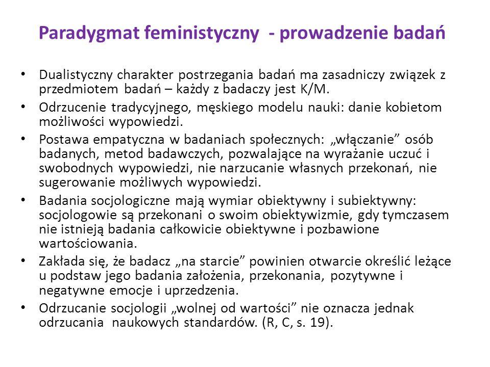 Paradygmat feministyczny - prowadzenie badań Dualistyczny charakter postrzegania badań ma zasadniczy związek z przedmiotem badań – każdy z badaczy jes
