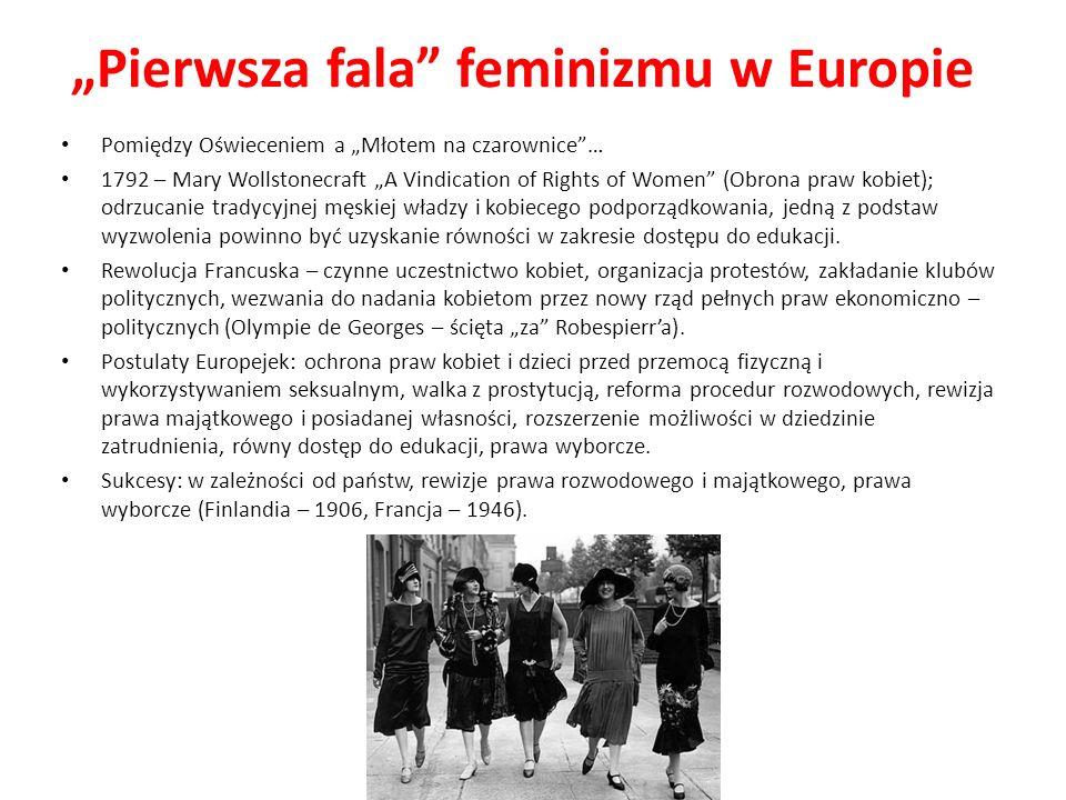 Pierwsza fala feminizmu w Europie Pomiędzy Oświeceniem a Młotem na czarownice… 1792 – Mary Wollstonecraft A Vindication of Rights of Women (Obrona pra