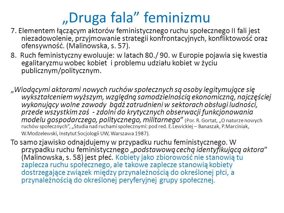 Druga fala feminizmu 7. Elementem łączącym aktorów feministycznego ruchu społecznego II fali jest niezadowolenie, przyjmowanie strategii konfrontacyjn