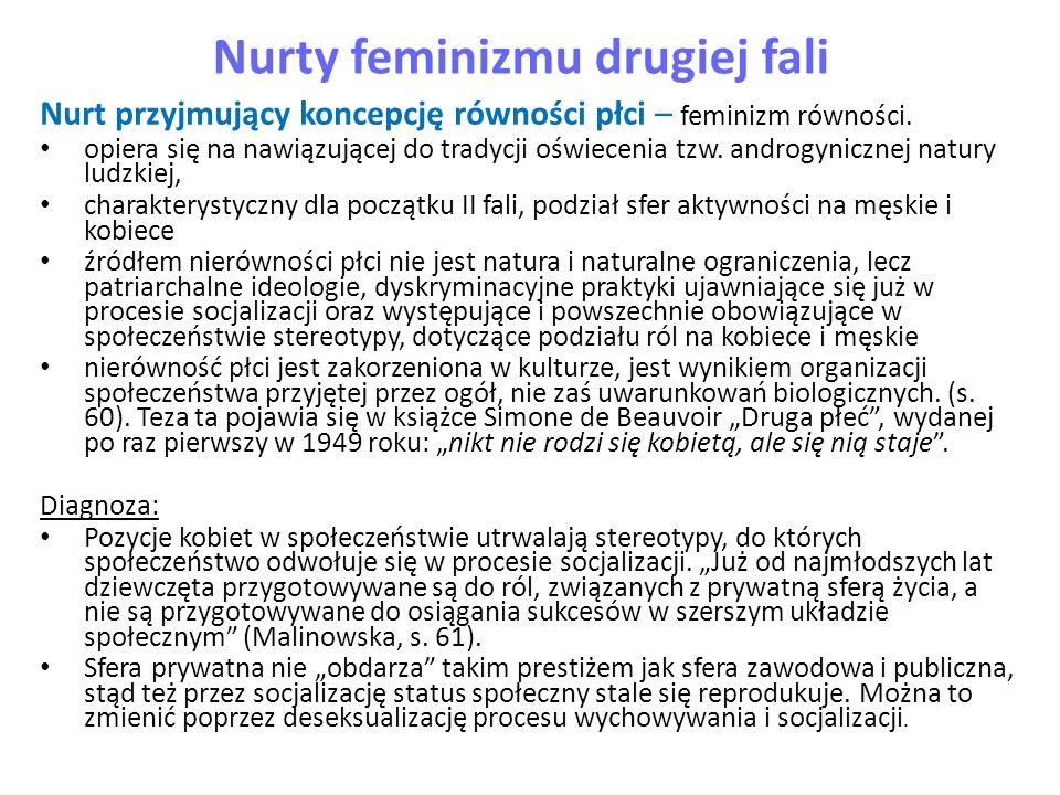 Nurty feminizmu drugiej fali Nurt przyjmujący koncepcję równości płci – feminizm równości. opiera się na nawiązującej do tradycji oświecenia tzw. andr