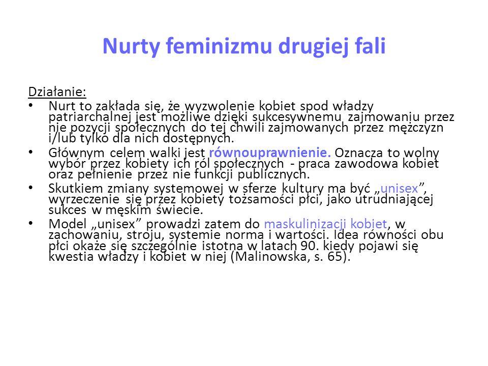 Nurty feminizmu drugiej fali Działanie: Nurt to zakłada się, że wyzwolenie kobiet spod władzy patriarchalnej jest możliwe dzięki sukcesywnemu zajmowan