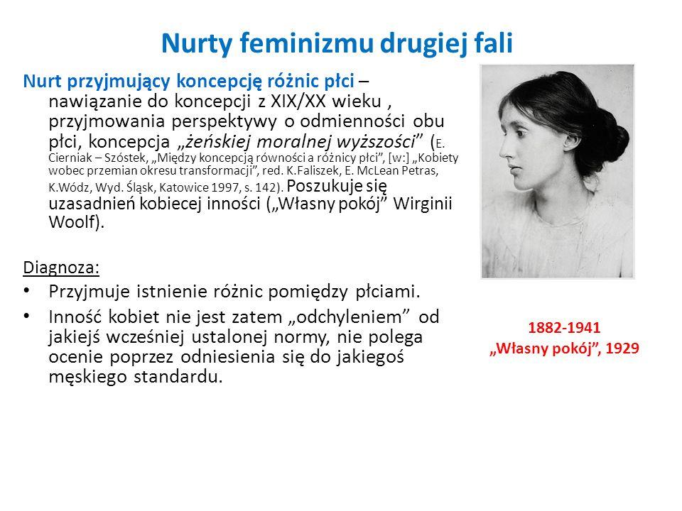 Nurty feminizmu drugiej fali Nurt przyjmujący koncepcję różnic płci – nawiązanie do koncepcji z XIX/XX wieku, przyjmowania perspektywy o odmienności o