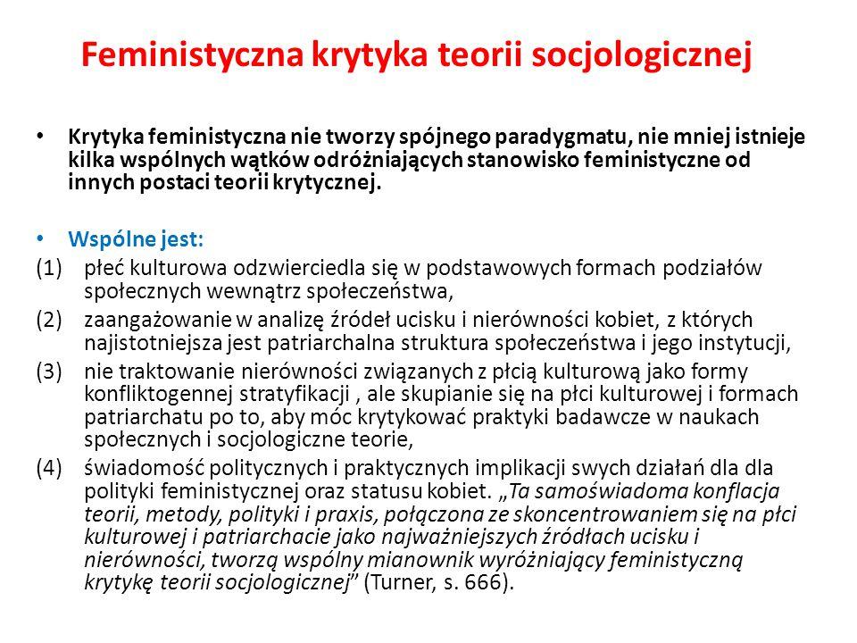 Feministyczna krytyka teorii socjologicznej Krytyka feministyczna nie tworzy spójnego paradygmatu, nie mniej istnieje kilka wspólnych wątków odróżniaj