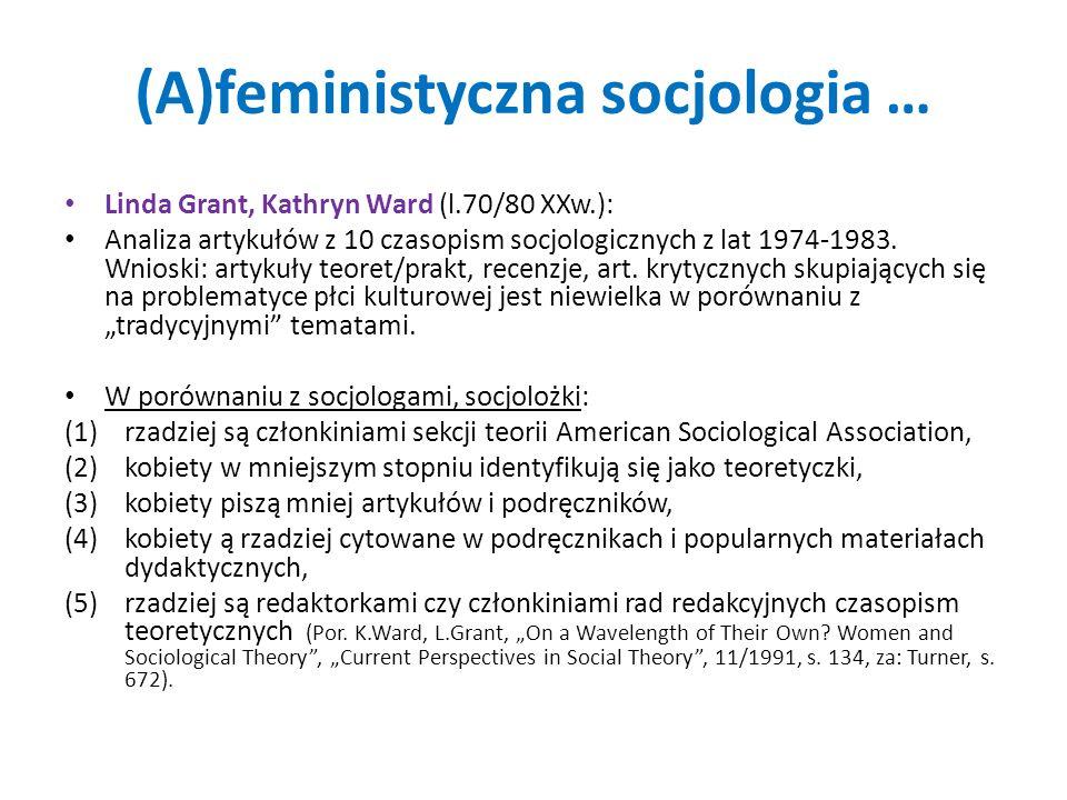 (A)feministyczna socjologia … Linda Grant, Kathryn Ward (l.70/80 XXw.): Analiza artykułów z 10 czasopism socjologicznych z lat 1974-1983. Wnioski: art