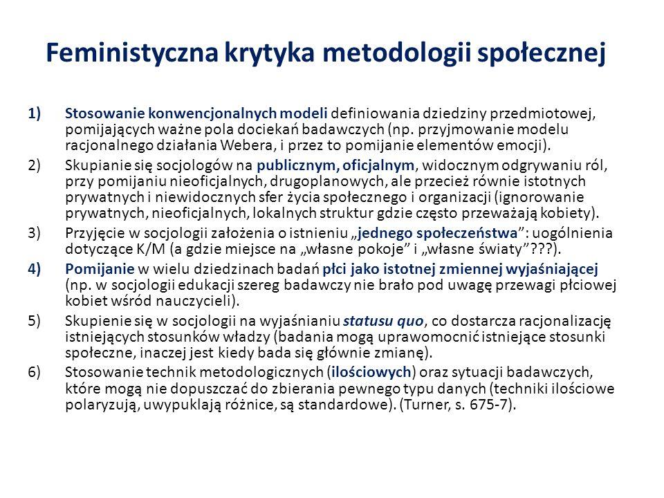 Feministyczna krytyka metodologii społecznej 1)Stosowanie konwencjonalnych modeli definiowania dziedziny przedmiotowej, pomijających ważne pola dociek