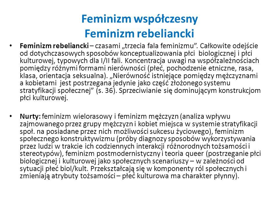 Feminizm współczesny Feminizm rebeliancki Feminizm rebeliancki – czasami trzecia fala feminizmu. Całkowite odejście od dotychczasowych sposobów koncep